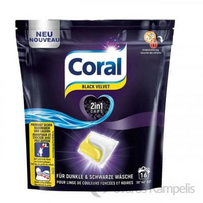 CORAL CAPS 2in1 BLACK VELVET skalbimo kapsulės 16 vnt.