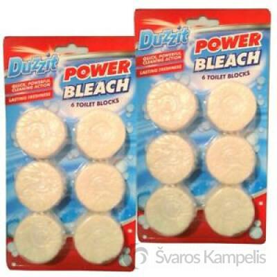 DUZZIT POWER BLEACH TOILET BLOCKS wc bakelio tabletės 6 vnt.