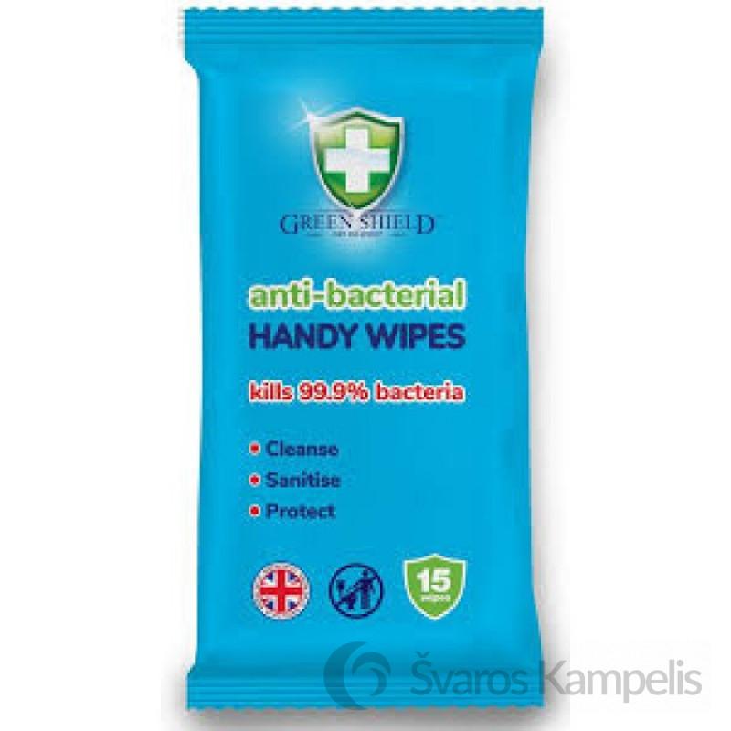 GREEN SHIELD antibakterinės servetėlės 15 vnt