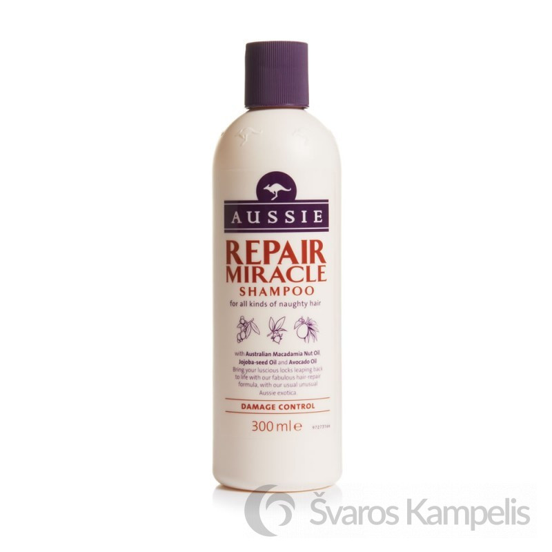 aussie repair miracle plauku sampunas 300ml